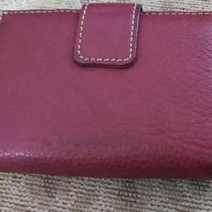 Gianni bernini purple leather wallet nwot